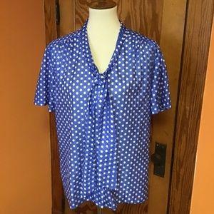 Dressy vintage 70s mod polka dot blouse